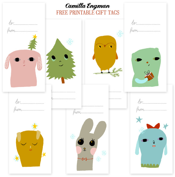 Free Holiday Gift Tags from CamillaEngman - Home - Creature Comforts - daily inspiration, style, diy projects + freebies    An extra post today - more gift tags! Get wrapping!