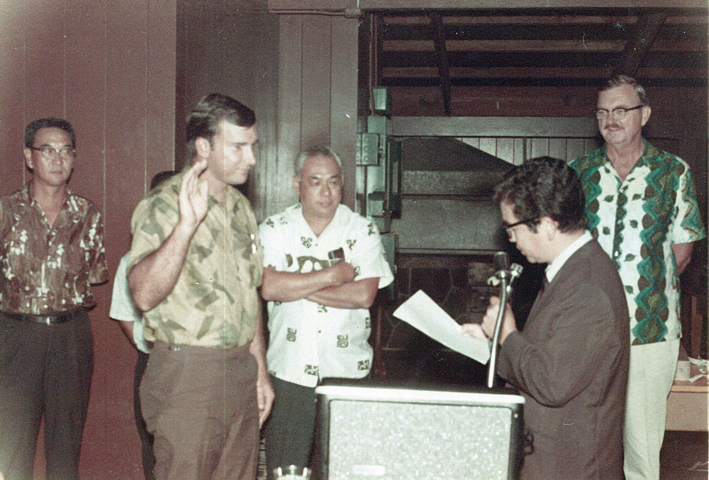 September 12, 1969: Richard West, KIAA's 1st President being sworn in by then Mayor Shunichi Kimura