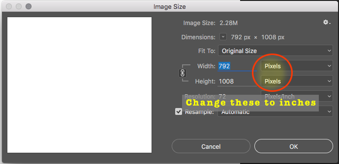 Open the Image Size dialog box and set it to inches if not already set.