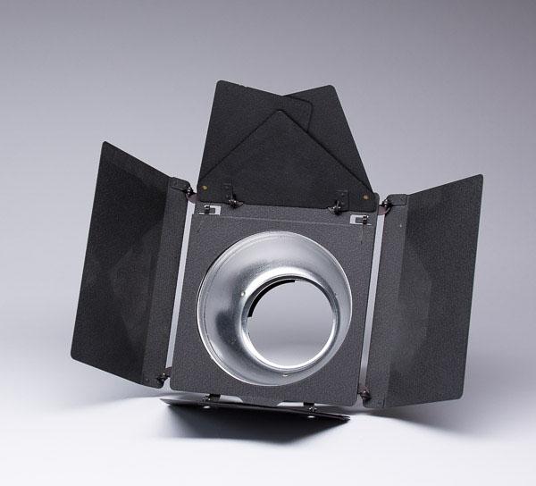 """Barndoors mounted on a 7"""" dish reflector"""