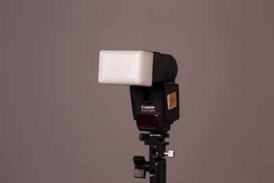 Stofen diffuser on a speedlight