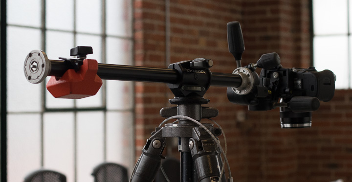 Manfrotto side arm to extend the camera out over the set to photograph straight down