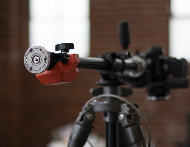 Manfrotto counter weight added to the cross arm to balance the camera