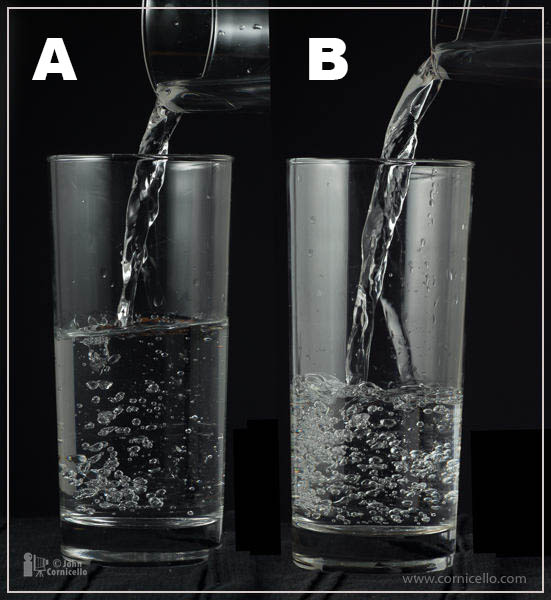 One of these pours is lit with a flash in normal sync at 1/60 of a second. The other is lit with a flash in High Speed Sync mode at 1/2000 of a second.Can you tell which is which?