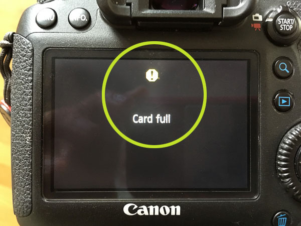 EOS 6D Card full warning (much easier to notice)