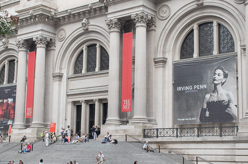 Irving Penn Centennial at the Met. Henry and Billy are at the top of the steps first in line to enter the museum this morning.