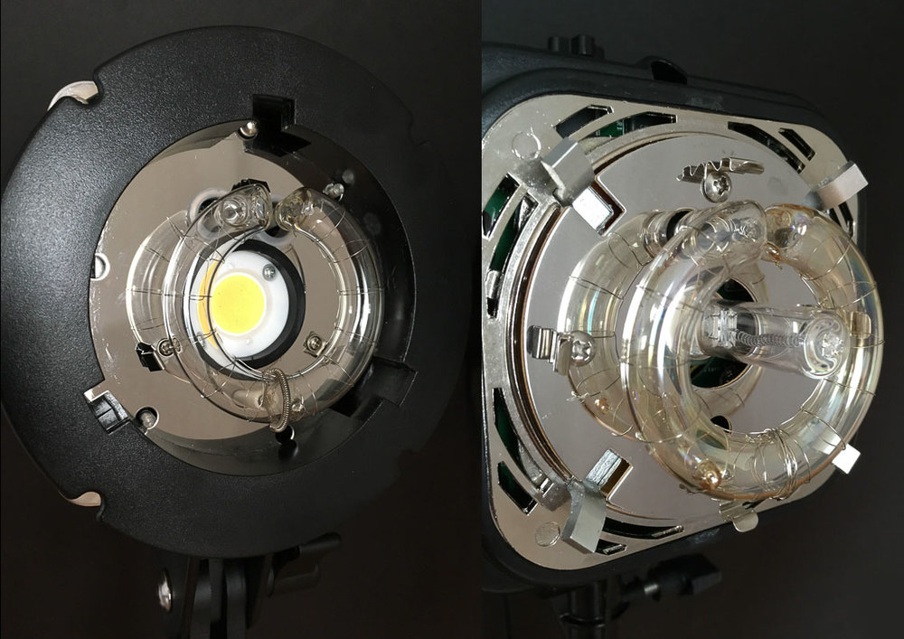LED modeling lamp on the left, quartz modeling lamp on the right