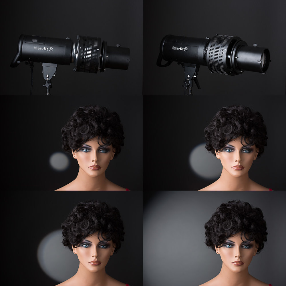 The optical spotlight attachment with 3 sizes of circle gobos and with no gobo