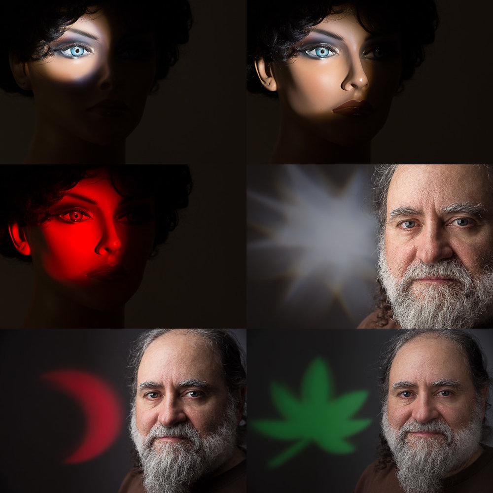 Gobo patterns and color filters on the optical spotlight on the mannequin and on the background of the selfies (main light on the selfies is a 2x3 Interfit softbox).