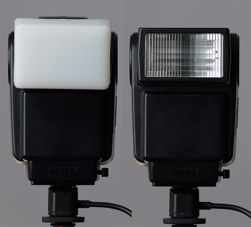 Adding a diffuser directly onto the flash does not increase the size of the light. It just spreads the light out to cover more area at lesser intensity