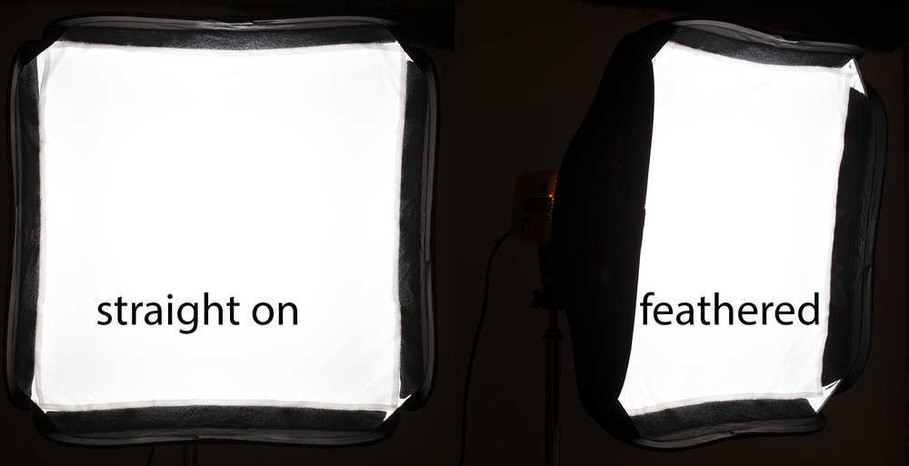 Straight on the softbox is larger than when feathered