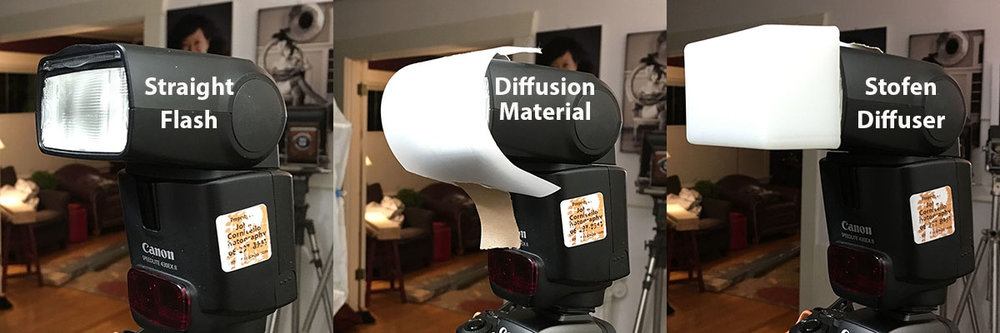 Straight flash, diffusion material taped over flash, and Stofen Diffuser on flash