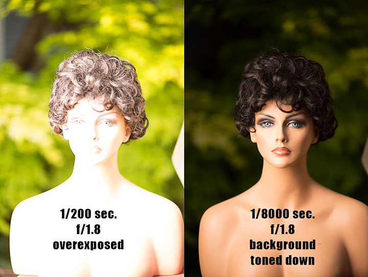 On the left there is too much available light to be able to work at f/1.8, everything is overexposed. On the right HSS has been enabled and the shutter speed set to 1/8000 sec. to take the background ambient exposure way down and have the Interfit S1 battery-powered flash provide the main exposure on the subject. Here the S1 is being modified by a 2x3-foot softbox.