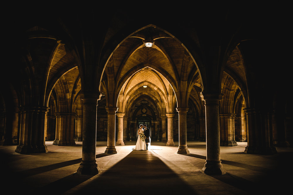 ISPWP - Award winner - no2 - My second award winning image from ISPWP was one of my favourites from Frances and Alan's stunning wedding at Glasgow University Chapel. We used the Cloister's to create this stunning image and won an award in the Wedding Venue or Location category.