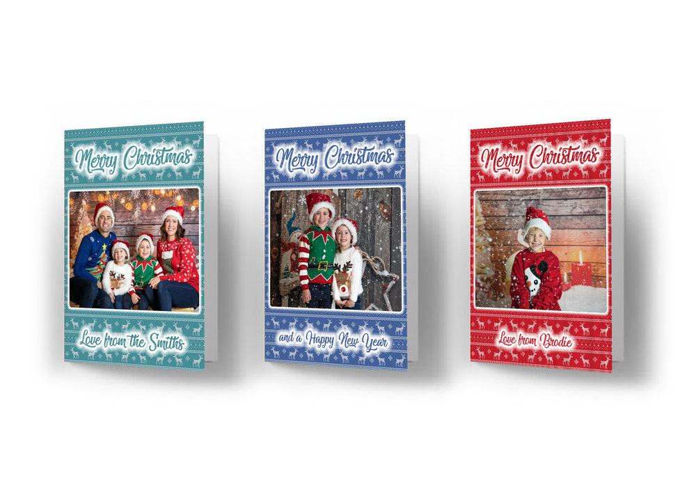 Personalised Christmas Cards - Choose from 3 different background colours with your own Message at the bottom of card. Great way to get your family photo out to family and friends.