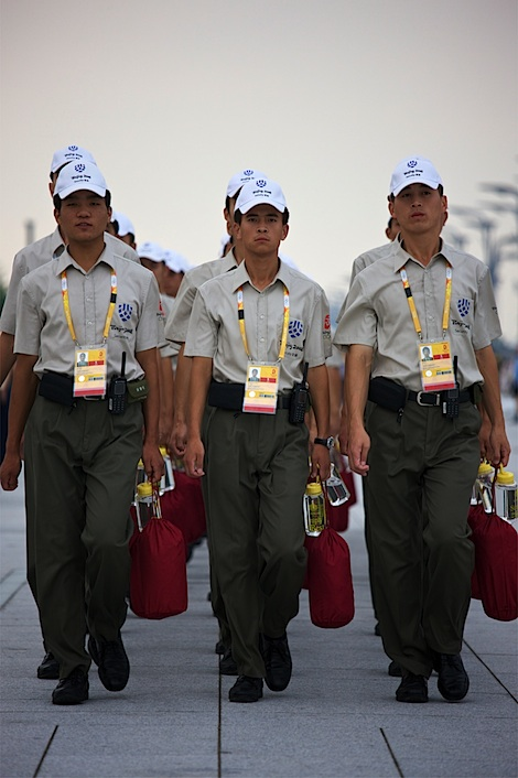 Olympic Security force on the way to work