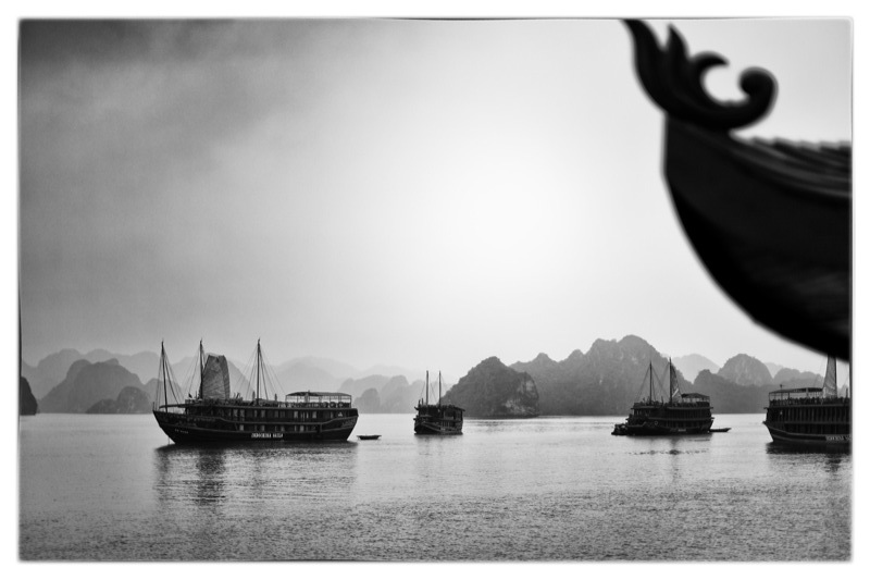 Vietnamese junk ships on Ha Long Bay, Vietnam