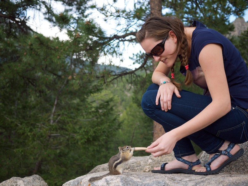 Alenka feeds the chipmunks. They demanded it.