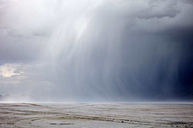 Rain Storm Coming at Bonneville Salt Flats, Utah