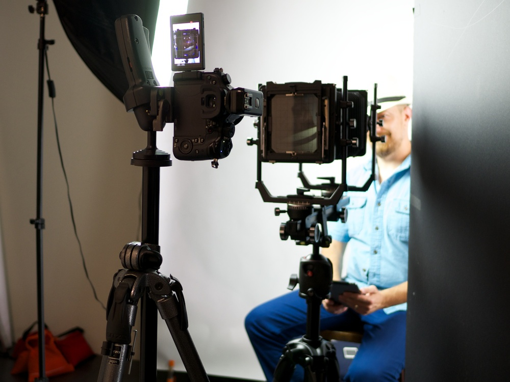 The GH4 in position, and connected to the iPad.
