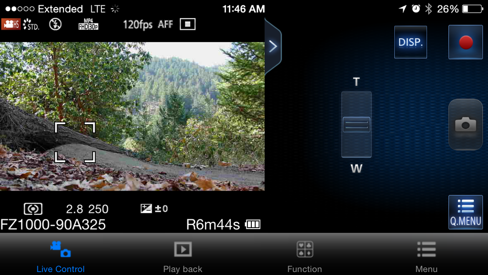 An iPhone screenshot, controlling the FZ100, waiting for a mountain biker to jump the log