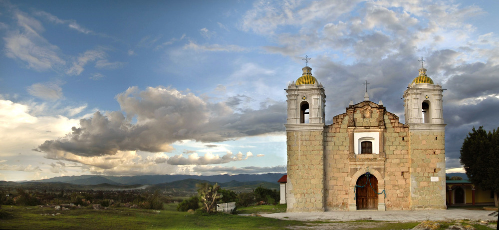 """Las Penyitas Church outside of Oaxaca City(where """"Nacho Libre"""" was filmed, in a very different light) — photo © Eric Mindling"""