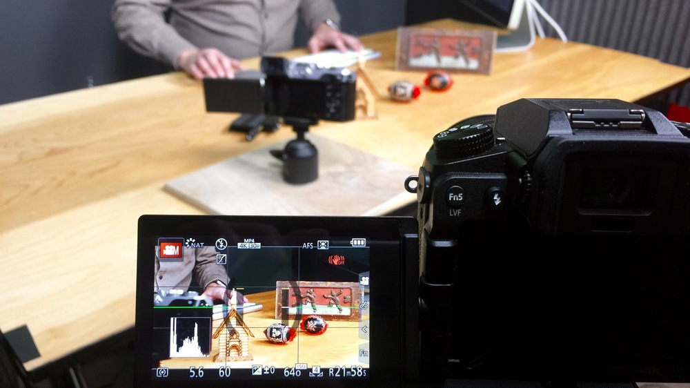 "Behind the scenes of the LUMIX ""Post Focus — Focus Stacking"" video; that's a LUMIX G7 shooting a LUMIX GX8 shooting a row of objects for a focus stacking demo"