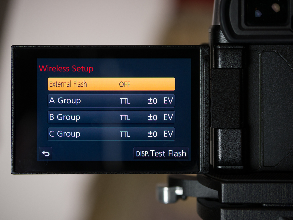 The external flash is set to OFF, and both A and B Groups are at their default, +/–0 EV compensation (so no adjustments made)