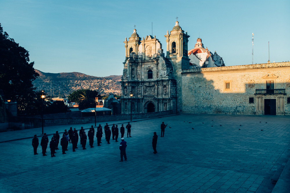 Morning police exercises at the Basílica de Nuestra Señora de la Soledad