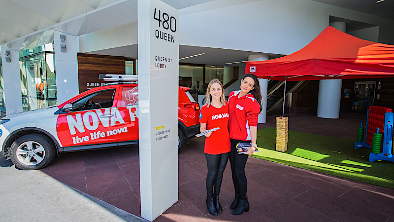 Nova promo girls at a Brisbane PR Event. Brisbane Event Photography by Photographer at Large.