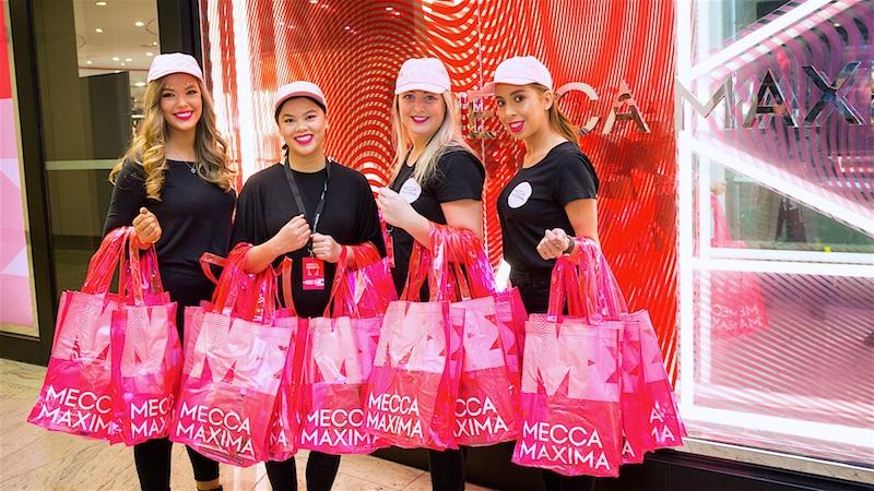 Mecca Maxima girls at the Brisbane Wintergarden store launch event.