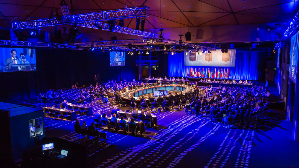 World government meeting sessions in the BCEC Ballroom