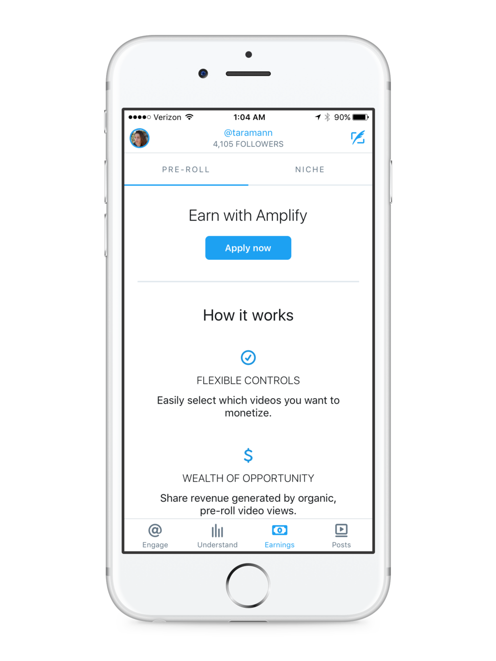 Monetize - Monetize your Twitter content directly in the app through Twitter's Amplify program or Niche (another Twitter product allowing creators to make deals with brands for sponsored content).