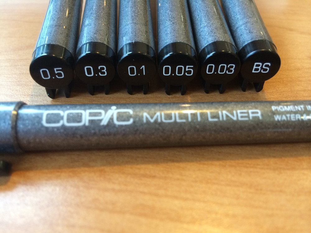 The Copic Multiliners I used to sketch the inked drawings of the bush.