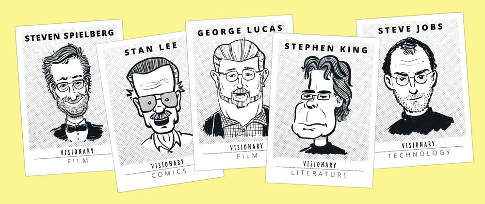 Visionary Trading Cards - A multi-part, illustrated trading card series featuring influential creators who have impacted popular culture.