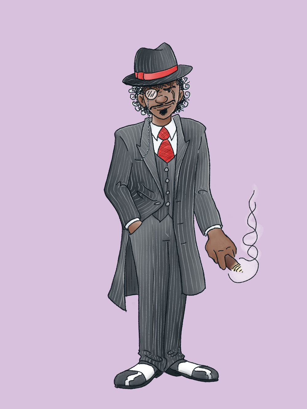 Midnight Oil - An African man sporting a pin-striped suit straight out of the 1920's American Gangster era. An agent of Dead Line, his work starts when everyone else is going home.