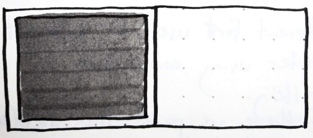 Fig. 7 - Sketch from my notes of a single panel layout on the left at the end of the story in David Wiesner's children's book,  June 29, 1999 .