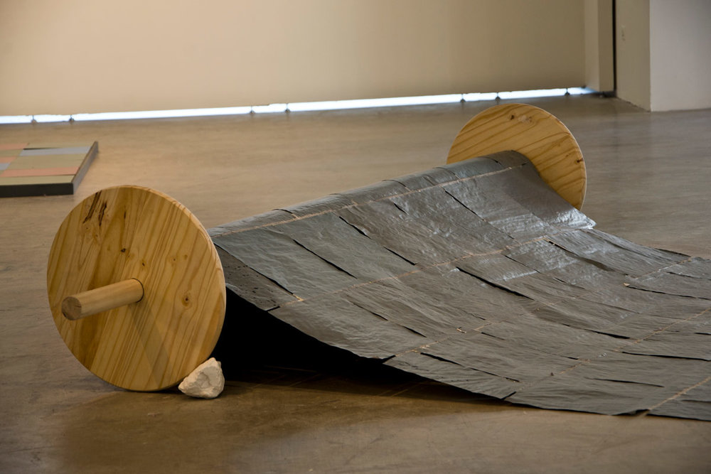You and What Army , steel posts, quilted fabric, cast cement, paper, wood, plaster, latex paint - 2014