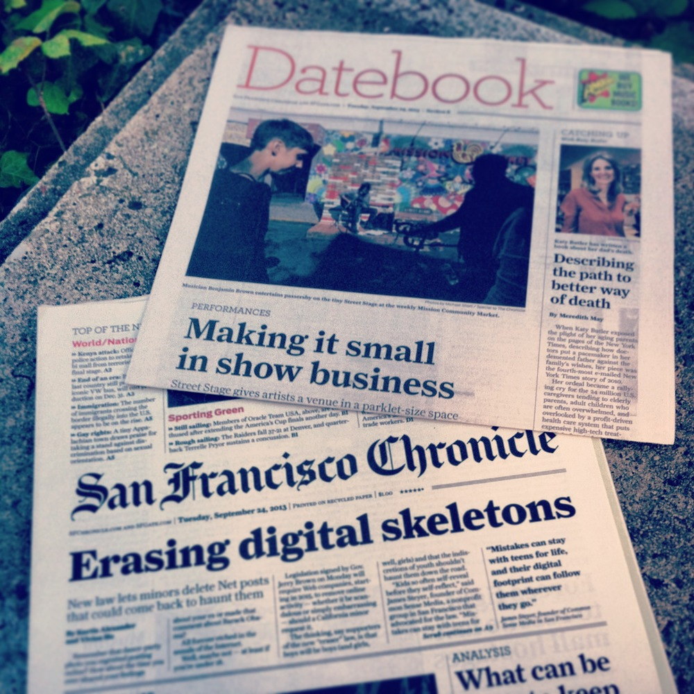Front and center in the Datebook section! San Francisco Chronicle, September 24, 2013.