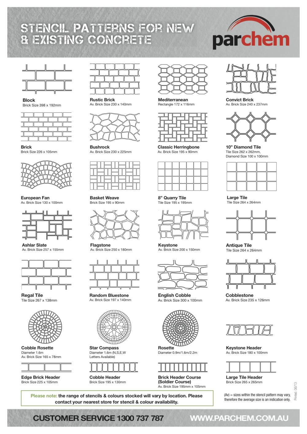Concrete Stencil Chart