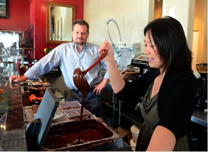 Grace Lapsys studied chocolate-making in Canada and France. She and her husband Troy have their own café and chocolate shop in Los Ranchos, (Dean Hanson/Albuquerque Journal)