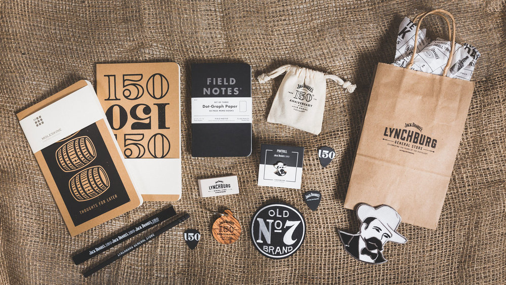 Limited edition collateral was created specifically for the pop-up, including items like bags, notebooks, patches, pencils, and erasers. Partner items included custom pins by Pintrill and Jack Daniel's whiskey soap by Apotheke, among others.