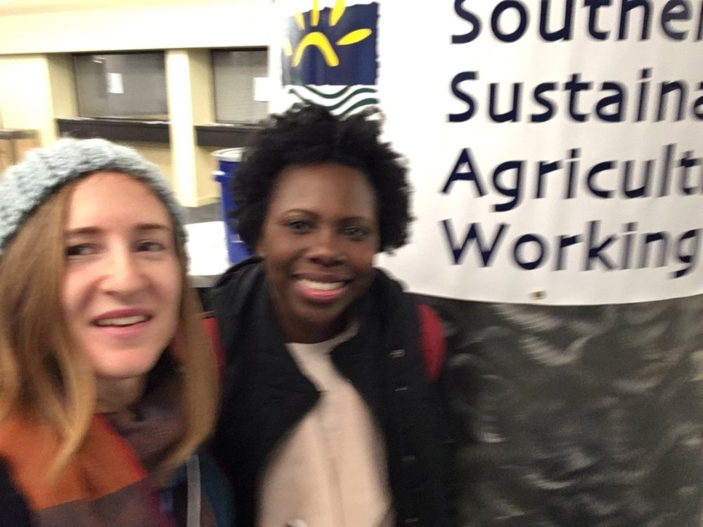 Representing Montgomery - April Hampton (right), author of The Telling and CEO of Divine Dictations Publications with Amanda Edwards, EAT South Good Food Day field trip coordinator (left) pictured at SSAWG 2019.