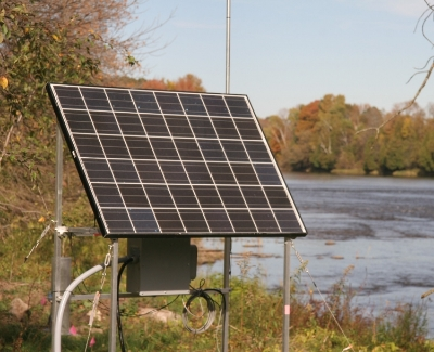 Solar panel powers RTHS instrumentation (Grasse River, Massena, NY).