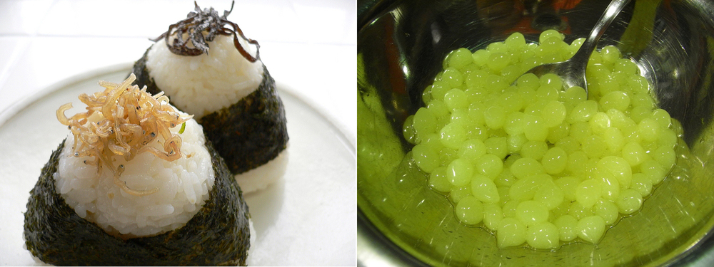 Sushi wraps and spherification of apple juice using alginates via Wikipedia