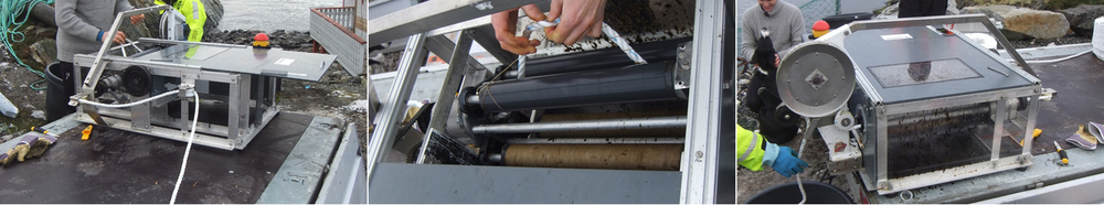 Feeding system - the string is being changed from one spook to another to continue the attachment of seaweed to the long line; close-up view of the inside of the machine and while the finished spool is being changed; and opposite side of the machine automatic winding of the string around the long lines. This machine was designed and constructed by students at NTNU for this purpose.