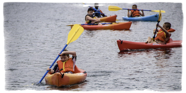 Kayaking is tough skill to learn; we'll teach it at Camp Scully.