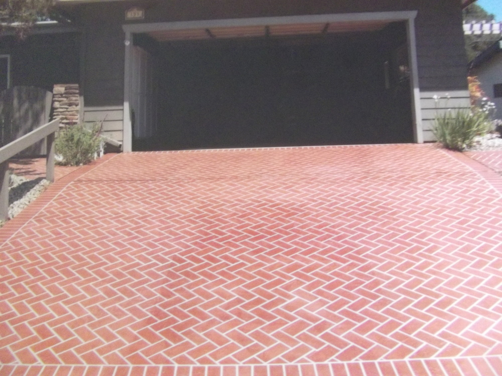 Herringbone brick driveway in Lompoc