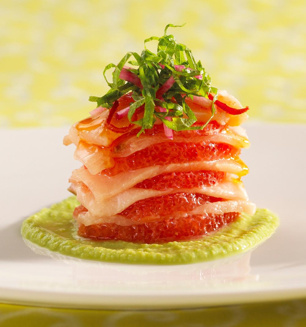 Hamachi with Grapefruit Salad