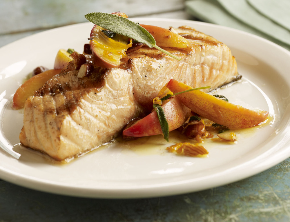 Salmon, Peaches & Almond Butter